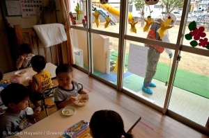 You can't be too careful. Little ones spend most of the day indoors at many nursery schools in Fukushima. Outside, radiation levels are being checked (photo courtesy of Greenpeace).