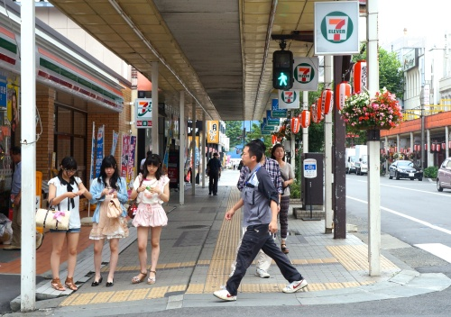 An ordinary summer day on the main street in Fukushima City.