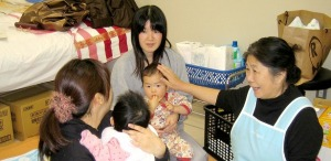 A Fukushima midwife on a home visit.